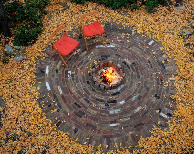 Brick Patio With Fire Pit Contemporary Landscape