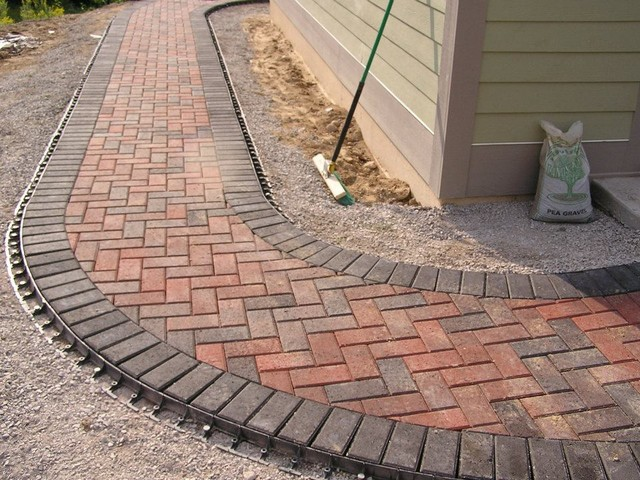 Brick paver walkway holland landscape other by land for Edging to keep mulch off sidewalk