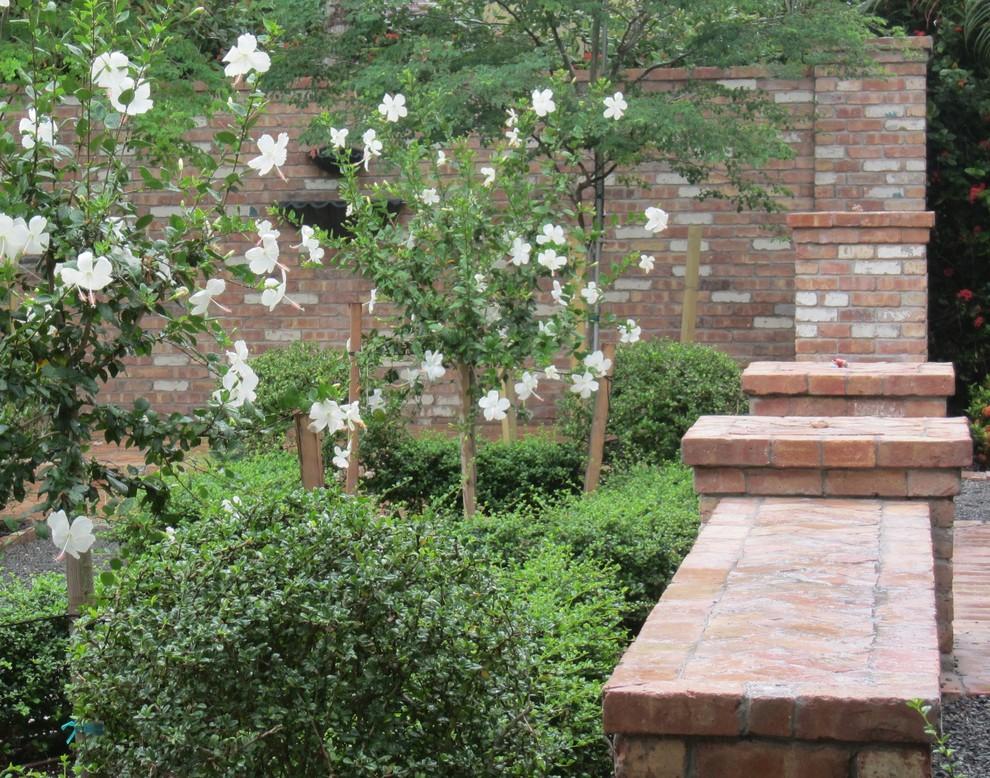 Brick Wall Design In The Courtyard Garden Traditional