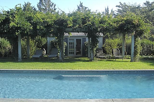 Bridgehampton pool house and arbor eclectic-landscape