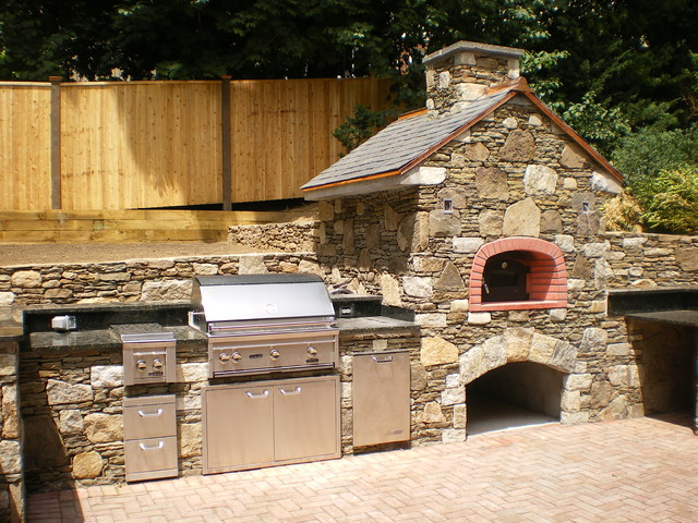 brookline outdoor kitchen wood burning pizza oven