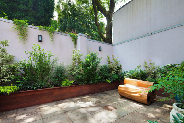 Backyard Garden Boxes : , NYC Backyard Bluestone Patio, Bench, Planter Boxes, Shade Garden