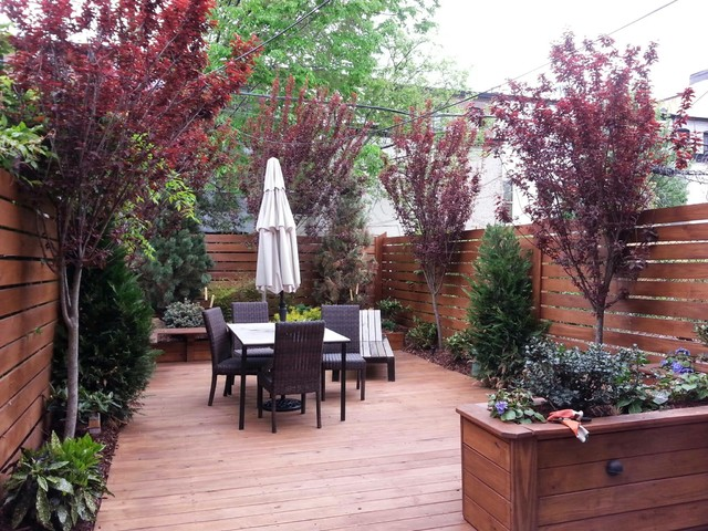 Brooklyn NYC Townhouse Rear Yard Landscape Design RenovationNYC Custom Planters - Modern ...