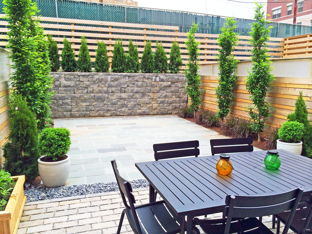 Elegant Brooklyn Townhouse Backyard   Bluestone Patio, Cedar Fence, Paver Retaining  Wall Contemporary Landscape