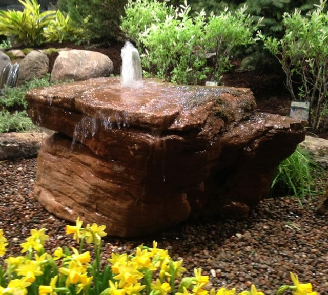 Bubbling Fountain Rock Rustic Landscape Chicago By