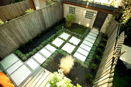 Buena vista street row house contemporary landscape for Row house garden design