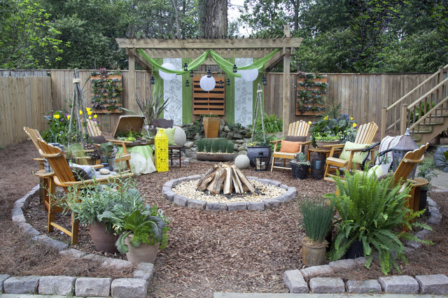 Bungalow landscape re do rustic landscape atlanta for Backyard design ideas images