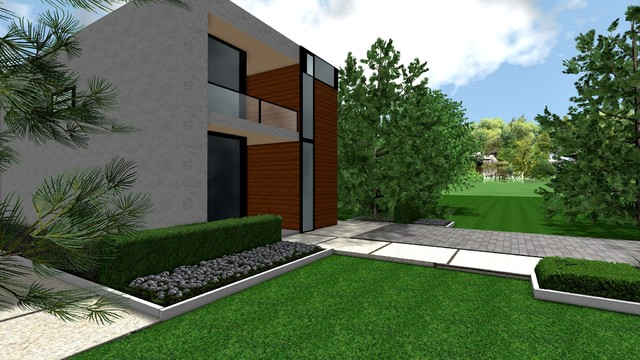 Contemporary Modern Front Yard Landscape