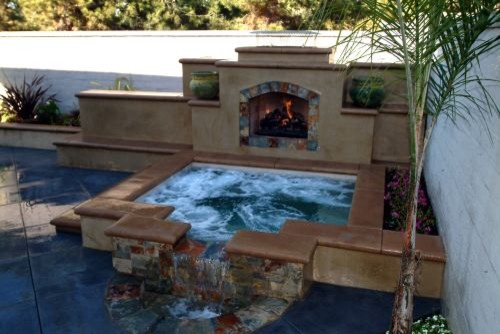 mediterranean landscape Fire Pit, Hot Tub, Or... Both?