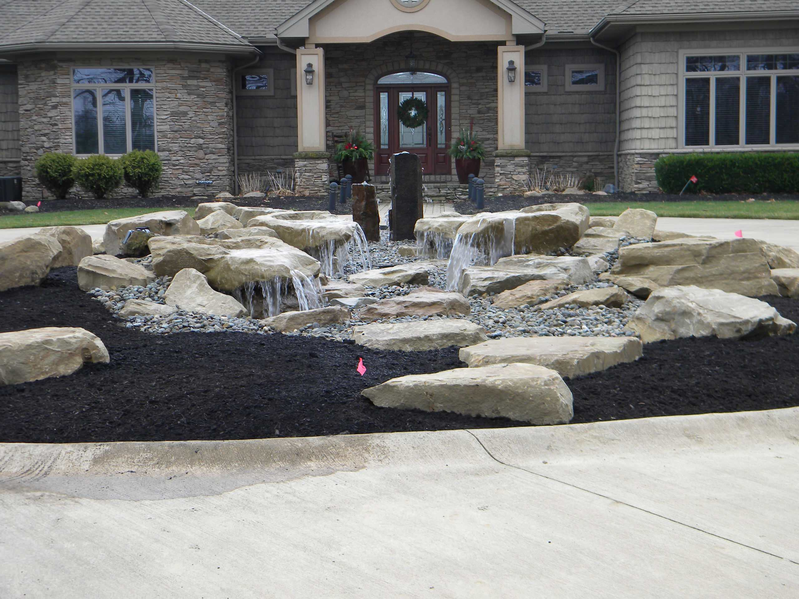 Carved stone and Basalt fountain