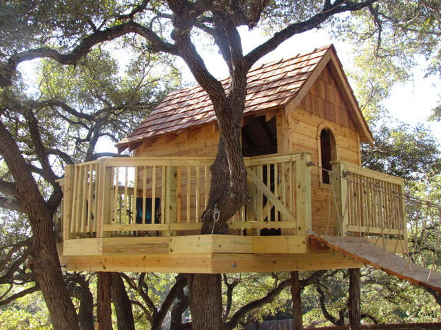 Cedar shake tree house eclectic kids austin by for How to build a treehouse roof