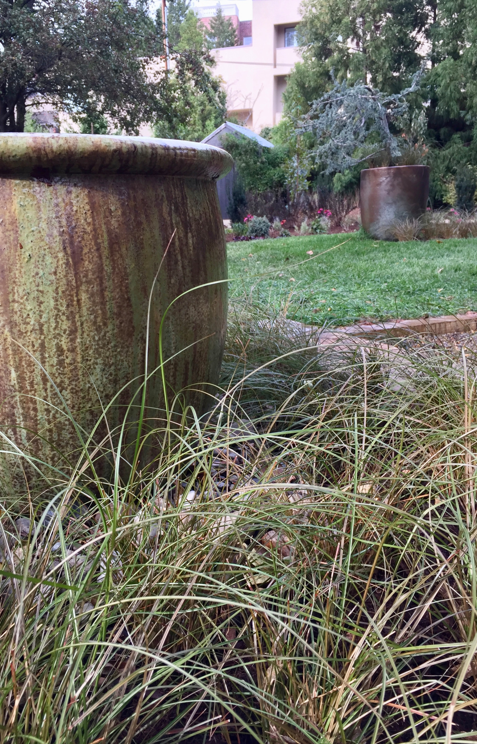 Ceramic water feature and carex