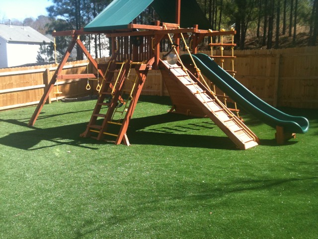 Dog Play Area In Backyard : Children and Dog Backyard Play Area  Traditional  Landscape