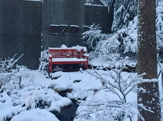 Chippendale garden bench. landscape