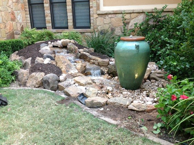 Garden fountains outdoor water features garden fountain small fountain - Christa S Front Yard Waterfall And Bubbling Urn Water Feature