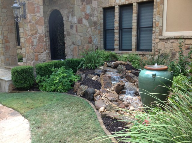 Christa 39 s front yard waterfall and bubbling urn water for Front yard garden designs with water feature