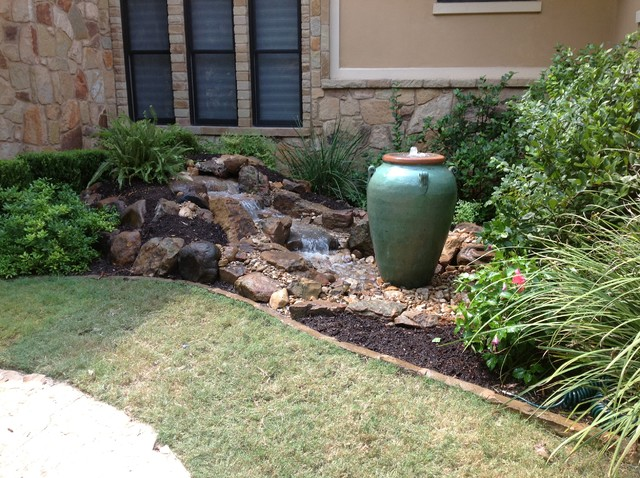 Christa 39 s front yard waterfall and bubbling urn water feature for Home water feature landscaping