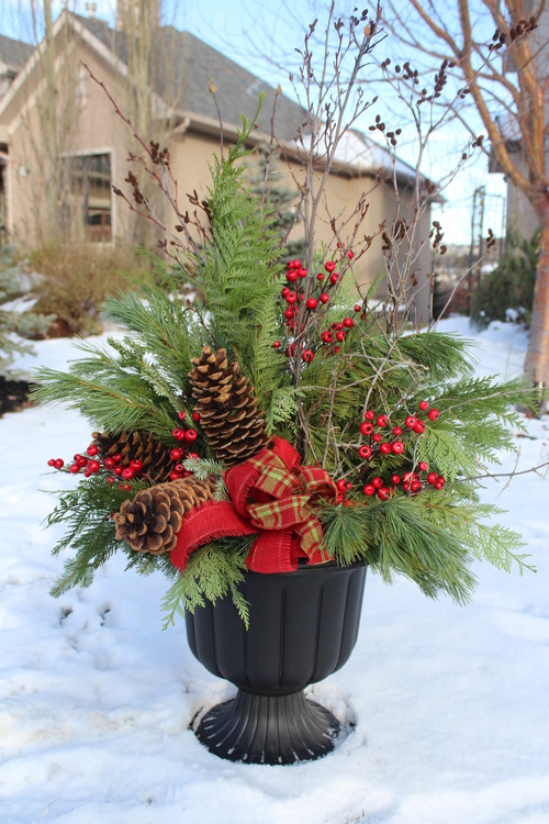 colors and textures in a Christmas urn