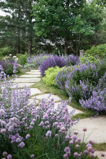 Design ideas for a rustic garden in Portland Maine with a garden path.