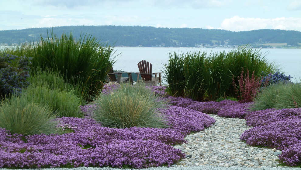 Design ideas for a small beach style drought-tolerant and full sun backyard gravel landscaping in Seattle for summer.