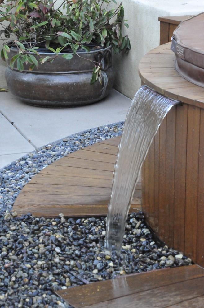 Design ideas for a mediterranean water fountain landscape in San Luis Obispo.