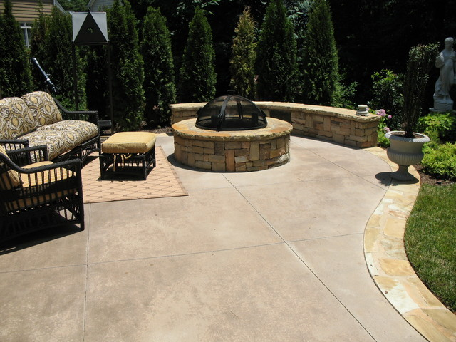 Colored Concrete Patio with Circular Fire Pit - Traditional ...