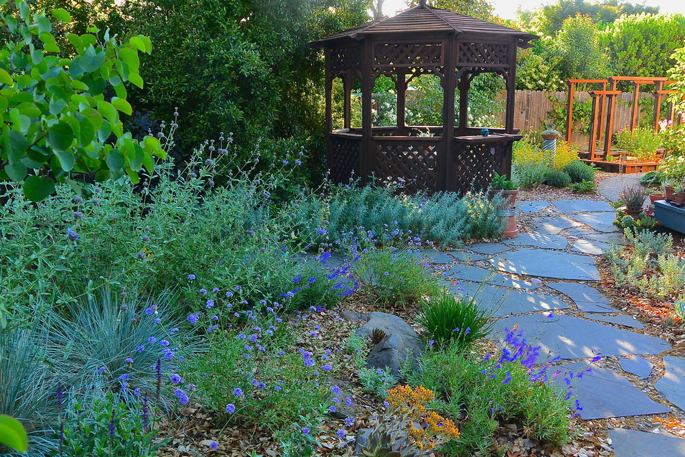 Design ideas for a mid-sized rustic drought-tolerant backyard stone landscaping in San Francisco for spring.