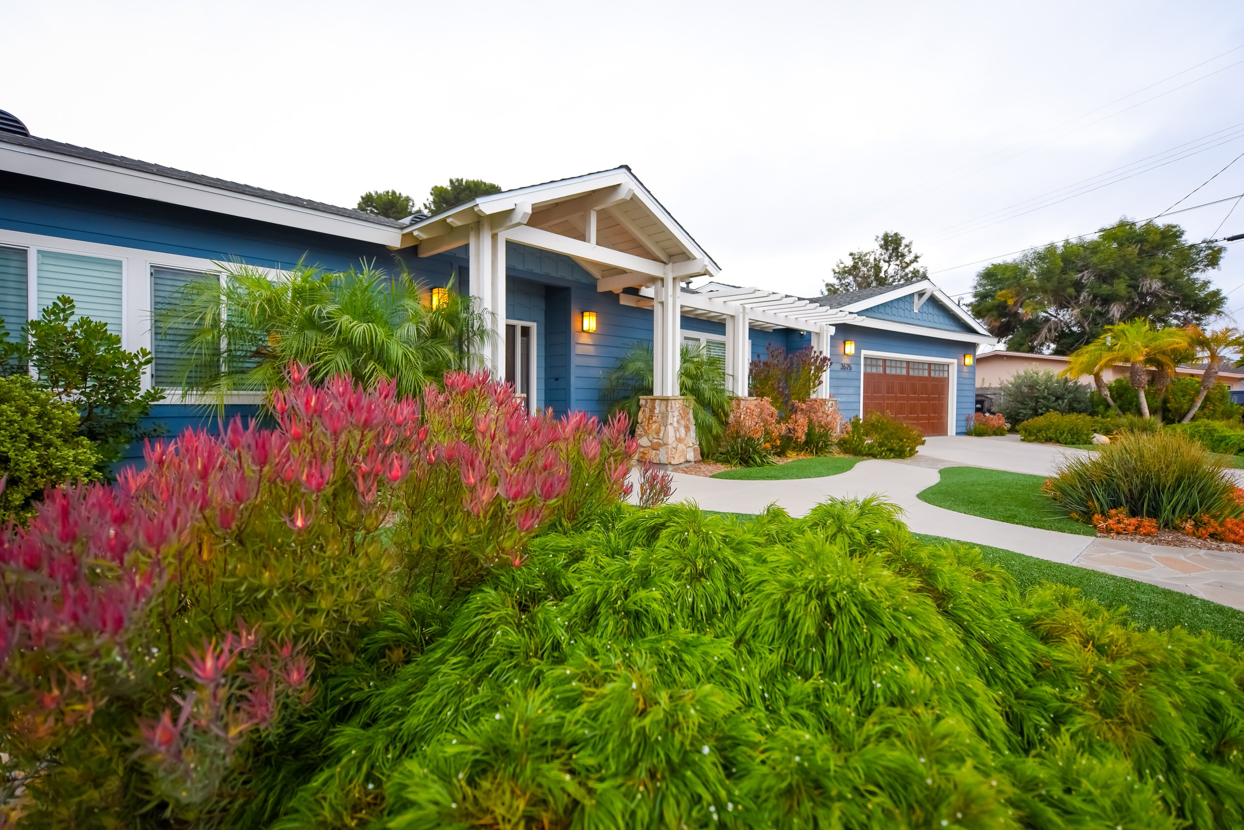 Colorful Plants in Front Yard Compliment House Color