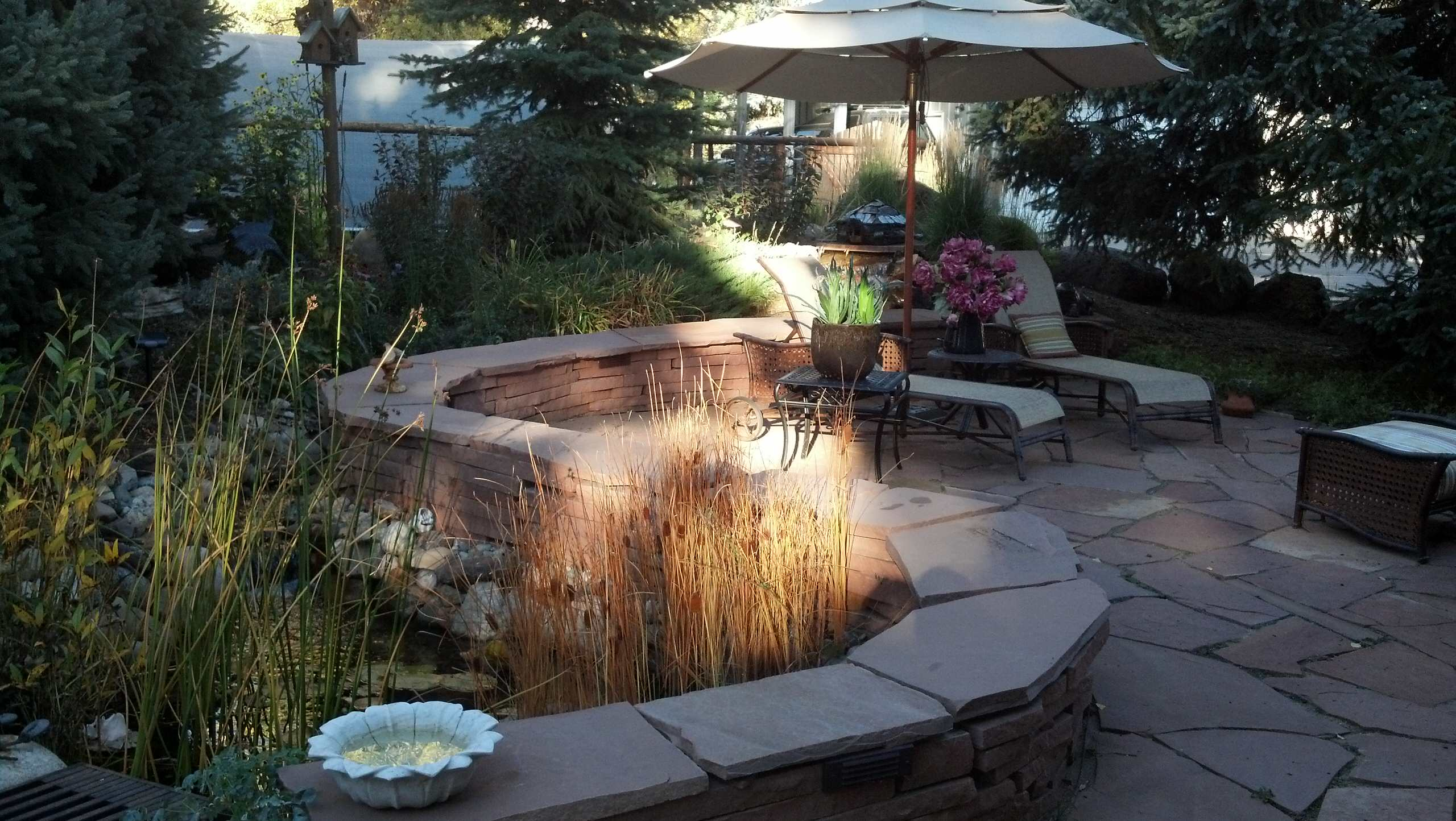 Completed patio with water feature
