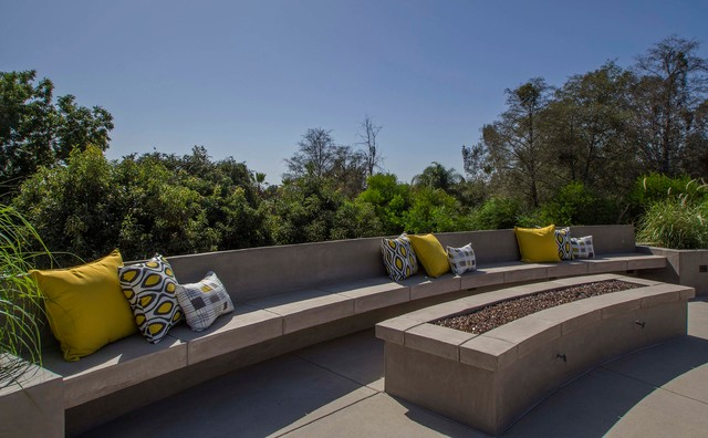 Concrete Bench And Fire Pit