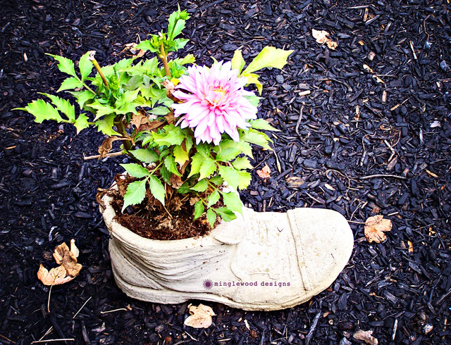 Concrete Boot Planter with Astilbe eclectic-landscape