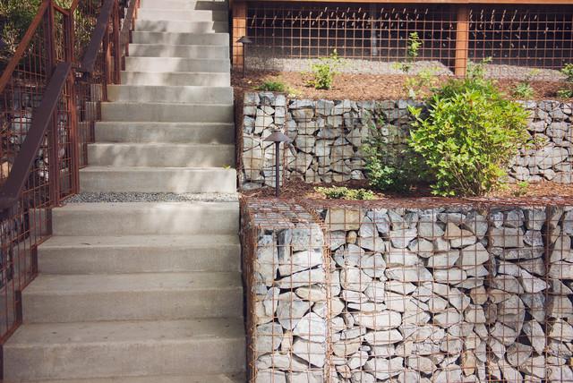 Concrete Stairway Steel Railing Gabion Cheek Walls