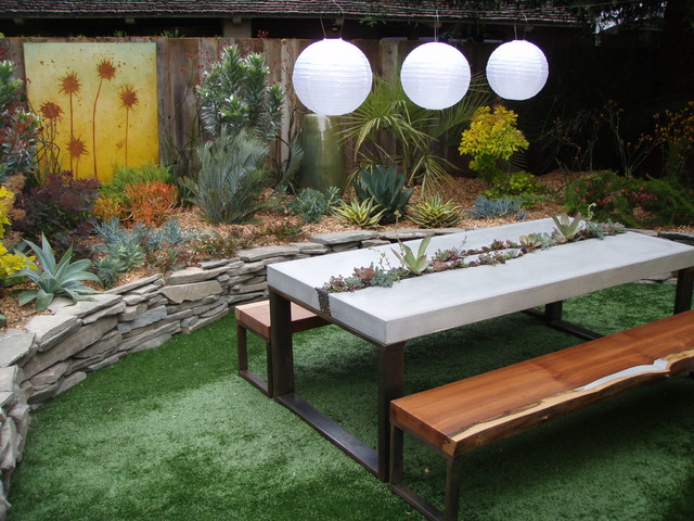 Concrete Succulent Table Benches Contemporary Landscape San Francisco By 5 Feet From