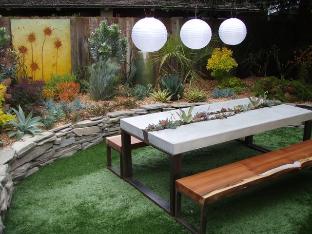 Concrete Succulent Table & Benches contemporary-landscape