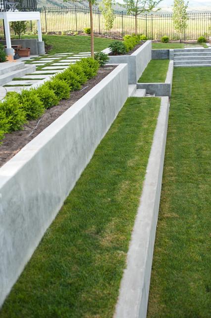 Concrete Terraces Modern Landscape Salt Lake City