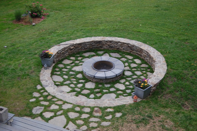 Connecticut Fire Pit Traditional Landscape New York