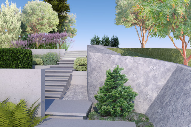 Inspiration for a contemporary hillside landscaping in Vancouver.