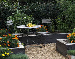 Contemporary Cottage Garden teak table and chairs traditional-landscape
