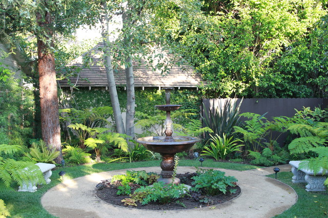 Photo Of A Mediterranean Shade Backyard Water Fountain Landscape In Los  Angeles.