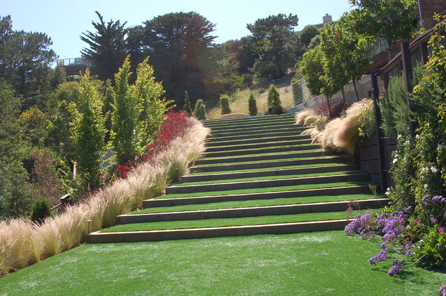 CONTEMPORARY HILLSIDE GARDEN - Mediterranean - Landscape - San Francisco - by BRADANINI u0026 ASSOCIATES
