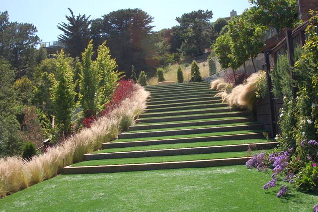 Contemporary Hillside Garden Mediterranean Landscape