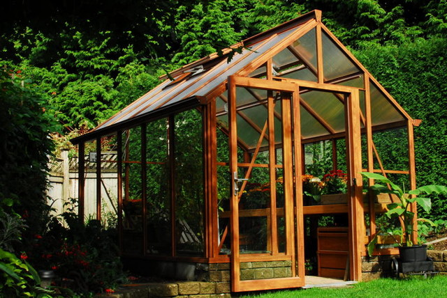 Cedar-Look Aluminum Greenhouse contemporary greenhouses