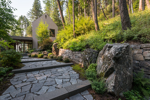 some landscaping jobs include features like this walkway, that take a team to construct