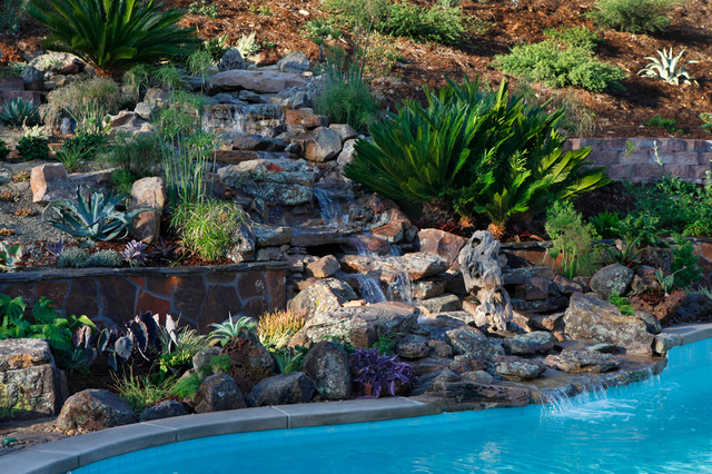 Backyard hill landscape design ideas carlsbad ca for Landscaping rocks on a hill