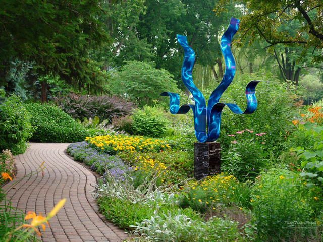 Contemporary Metal Outdoor Garden Sculpture   Reaching Out Blue By Jon  Allen Contemporary Landscape