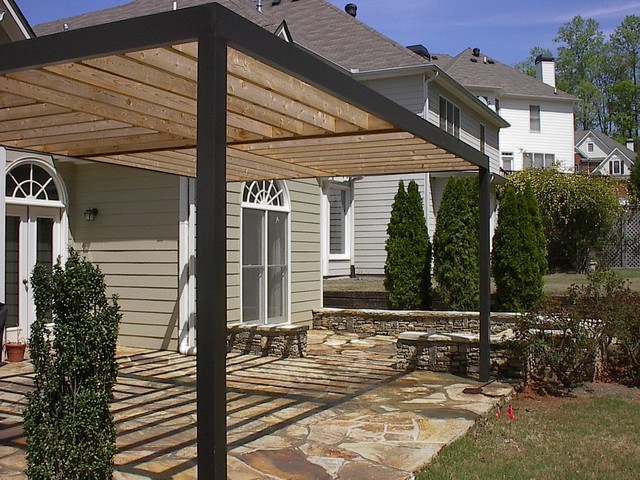 Contemporary Pergola Over Stone Patio