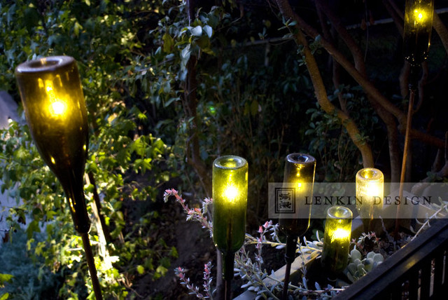 contemporary planter with wine bottle lighting eclectic