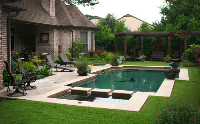 Contemporary Pool Compliments English Garden Style Traditional