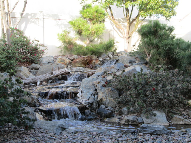cool outdoor waterfall in riverside ca craftsman
