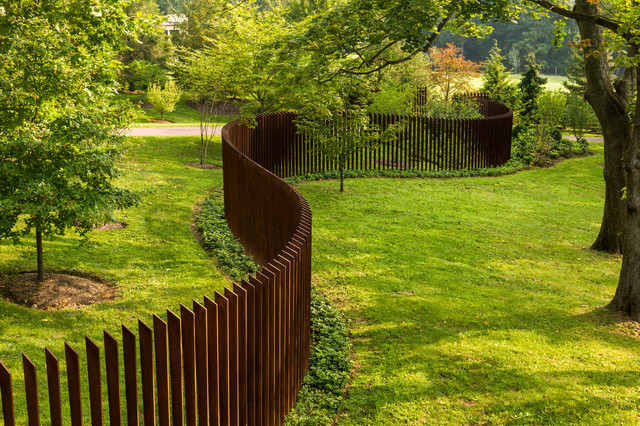 Fence Design Ideas exteriorgraceful garden fence design ideas with black iron ornate railing fence plus wooden pillars Fence Home Design Photos